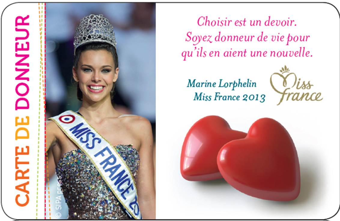 carte de donneur personnalise - miss france 2013 - marine lorphelin petit